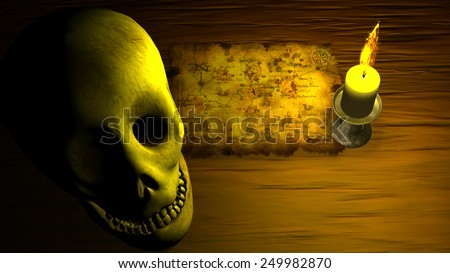 Old Pirate Map under candle light with human skull - stock photo