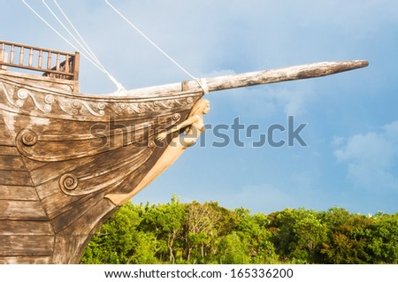 Old pirate ship in the Caribbean. Vintage ship in exhibition for tourists in Cuba. Wooden ancient corsary vessel. - stock photo