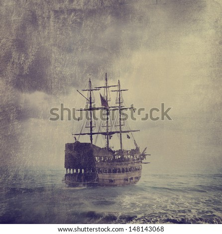 Old pirate ship in the sea. Texture added. - stock photo