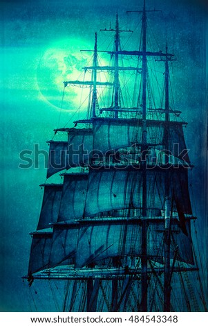 Old pirate ship sails and the Moon, grunge illustration
