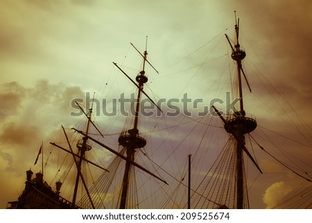 old pirates galleon wreck vintage style, travel and adventures concept - stock photo
