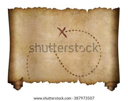 old pirates map with marked treasure location