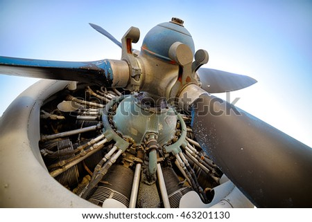 Old Piston aircraft engine, propeller, close-up shot