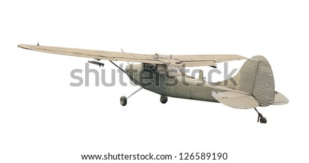 Old plane fighter isolate on white - stock photo