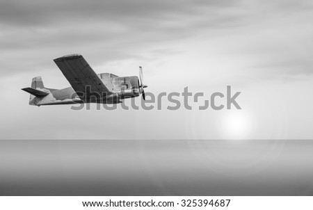 old plane over the sea. black and white.