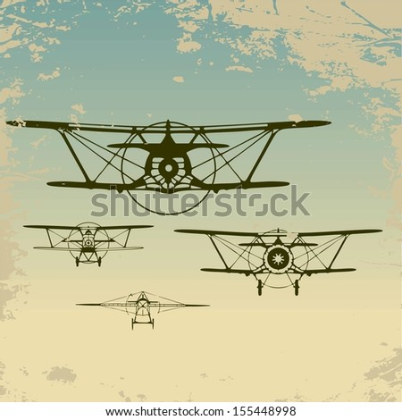 Old planes flying in the clouds,  retro aviation background. Raster version.The original is also available in my gallery - stock photo