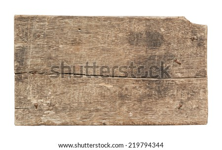 Old plank of wood isolated on white background with Clipping Path. - stock photo