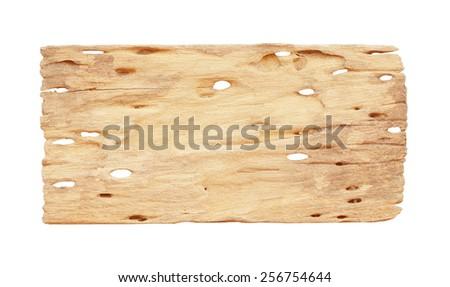 old plank wood isolated on white background - stock photo