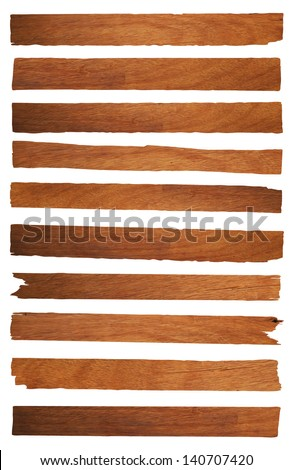 Old planks isolated on white, Objects with clipping paths for design work - stock photo