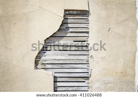 Old Plaster Wall with Wood Slats