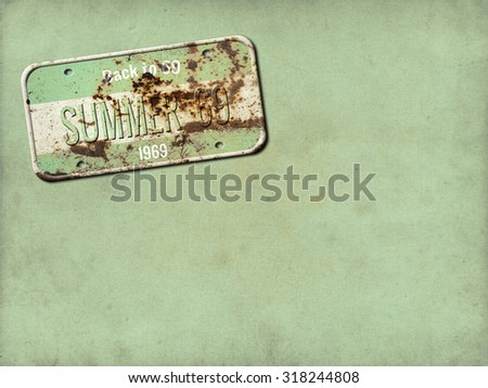 Old plate. License plate - stock photo