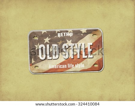 Old plate. Vintage license plate - stock photo