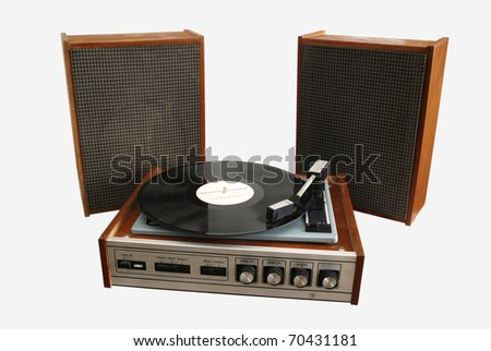 old player phonograph record - stock photo