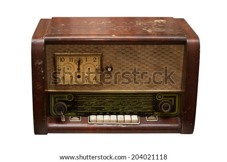Old player - radiogramophone on a white background - stock photo