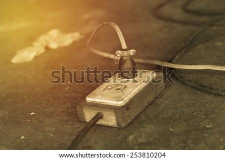 Old plug socket. Vintage filter. - stock photo