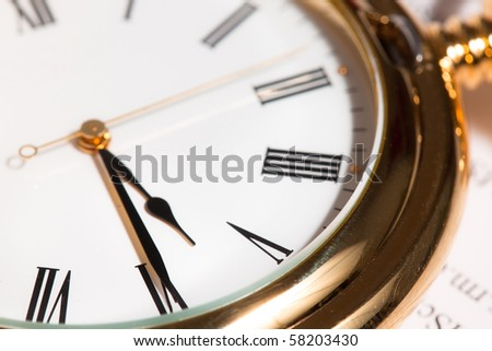 Old pocket watch close up - stock photo