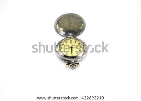 Old pocket watch isolated - stock photo