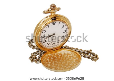 old pocket watch isolated on white  - stock photo