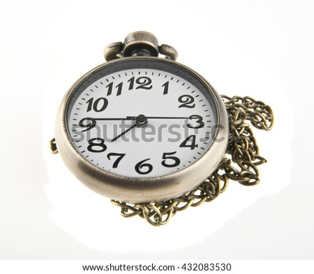 old pocket watch isolated on white background closeup