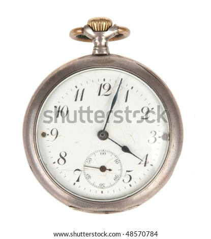 old pocket watch isolated over white - stock photo