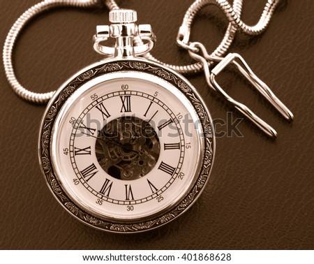 old pocket watch mono - stock photo