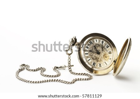 old pocket watch on white background - stock photo