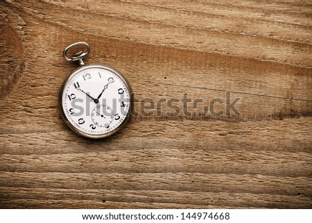 Old pocket watch on wooden table