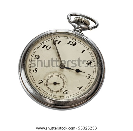 old pocket watches,isolated on white with clipping path.