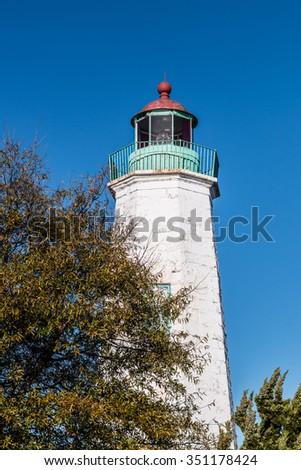Old Point Comfort lighthouse in Hampton, Virginia. - stock photo