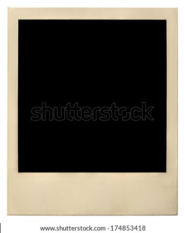 old polaroid photo frame isolated on white with clipping path included - stock photo
