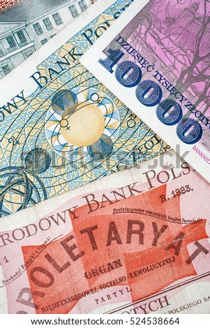 Old Polish invalid banknotes as a background