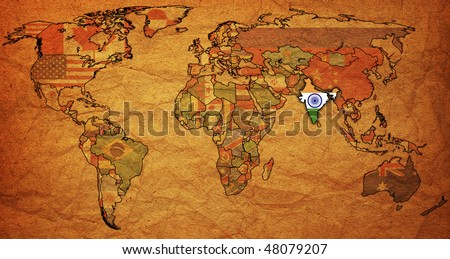 old political map of world with flag of india