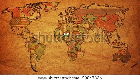 old political map of world with flag of niger