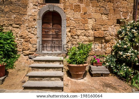Old porch in Tuscany - stock photo