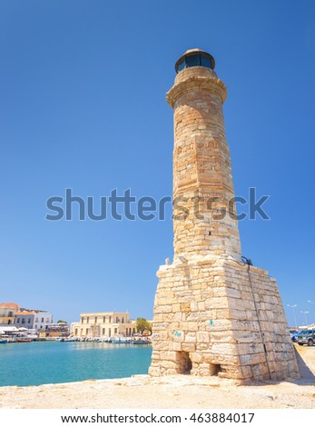 old port and Lighthouse in Rethymno, Crete, Greece