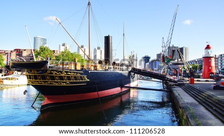Old port in Rotterdam. Netherlands - stock photo