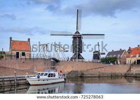 Old Port of Fortified old town Heusden, Brabant, Netherlands