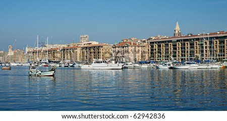 Old port of Marseille, France, the quay with boats and yachts. - stock photo