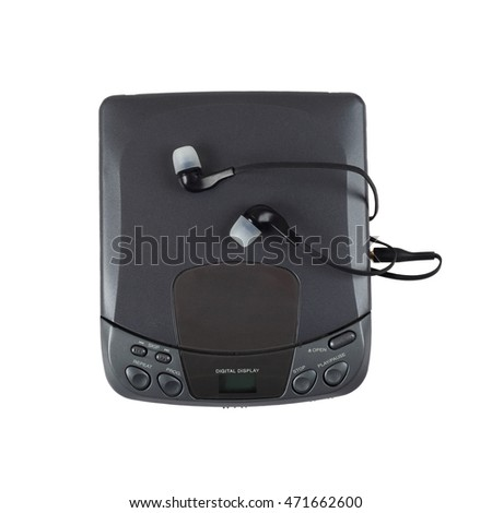 Old portable CD audio player with headphones isolated on white background in square