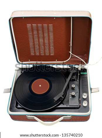Old portable turntable isolated. Clipping path included. - stock photo