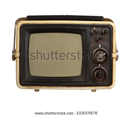 Old portable TV receiver isolated on white background - stock photo
