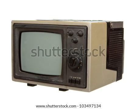 Old portable TV set isolated on white background - stock photo
