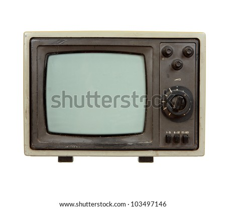 Old portable TV set isolated on white background