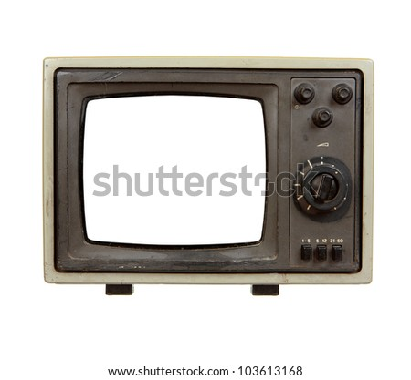 Old portable TV set with blank screen isolated on white background - stock photo