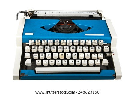 old portable typewriter, isolated on white. - stock photo