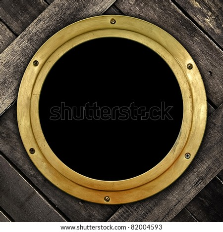 old porthole - stock photo