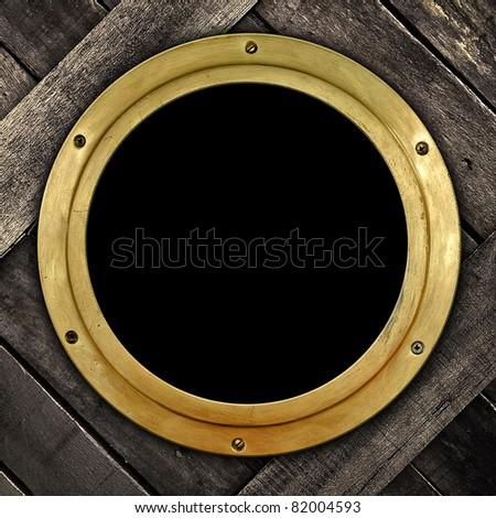old porthole - stock photo