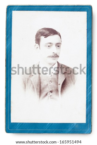 Old Portrait of a man. Made in a studio. Vintage. Year 1890 - stock photo