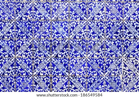 old portuguese ceramic tiles background - stock photo