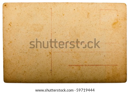 old post card isolated on white
